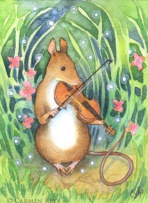 Art: Field Mouse Orchestra: Viola ACEO by Artist Carmen Medlin