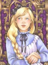 Art: Alice Sits at the Tea Table ACEO by Artist Carmen Medlin