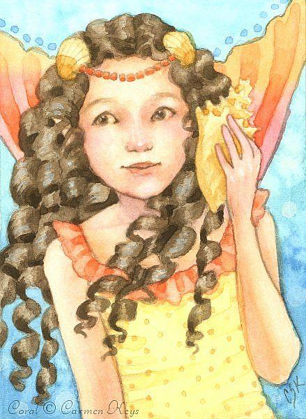 Art: Coral ACEO by Artist Carmen Medlin