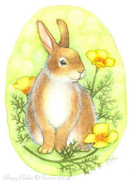Art: Poppy Rabbit by Artist Carmen Medlin