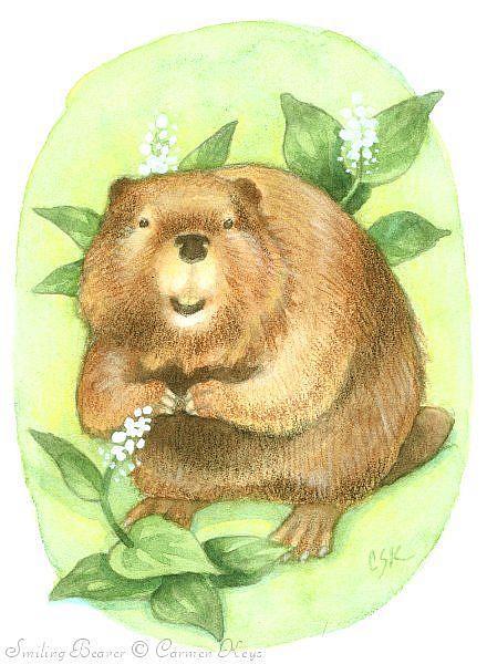 Art: Smiling Beaver by Artist Carmen Medlin