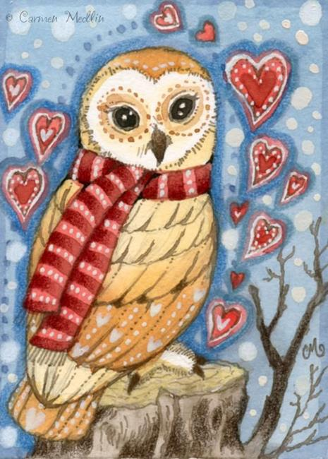 Art: Owlish Valentine ACEO by Artist Carmen Medlin