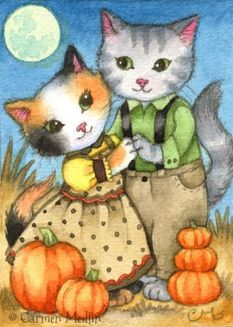 Art: October Love ACEO by Artist Carmen Medlin