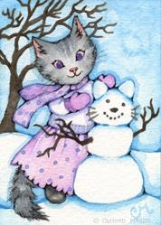 Art: Making a Snow Cat ACEO by Artist Carmen Medlin