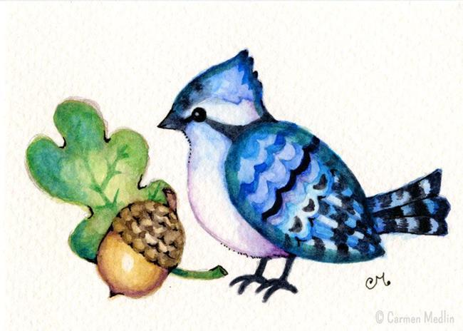 Art: Happy Little Blue Jay ACEO by Artist Carmen Medlin