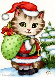 Art: Santa Claws ACEO by Artist Carmen Medlin