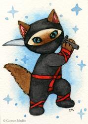 Art: Ninja Cat ACEO by Artist Carmen Medlin