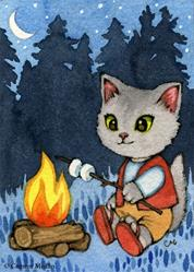 Art: By the Campfire ACEO by Artist Carmen Medlin