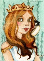 Art: Princess Chickadee ACEO by Artist Carmen Medlin