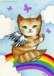 Art: Sitting on a Rainbow ACEO by Artist Carmen Medlin
