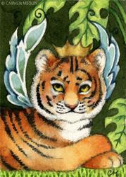Art: Tiger Cub Fairy ACEO by Artist Carmen Medlin