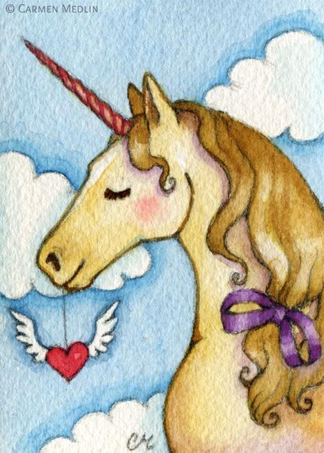 Art: Dreamy Unicorn ACEO by Artist Carmen Medlin
