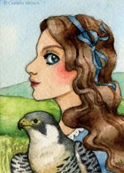 Art: Princess Peregrine ACEO by Artist Carmen Medlin