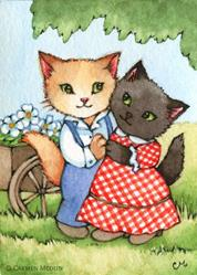 Art: Country Sweethearts ACEO by Artist Carmen Medlin