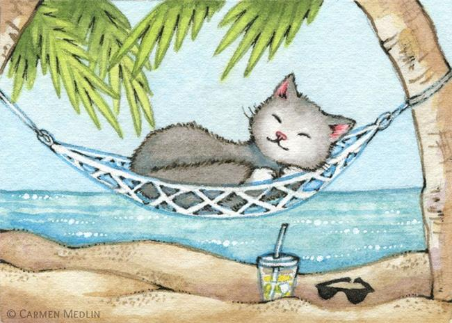 Art: Nap in Paradise ACEO by Artist Carmen Medlin