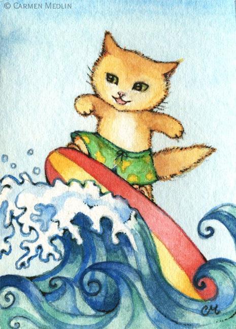 Art: Surfer ACEO by Artist Carmen Medlin