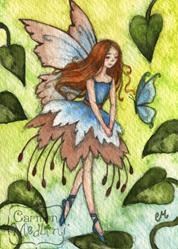 Art: Blue Wings ACEO by Artist Carmen Medlin