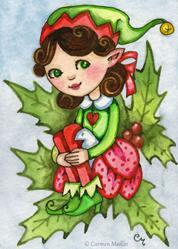 Art: Little Holly Elf ACEO by Artist Carmen Medlin
