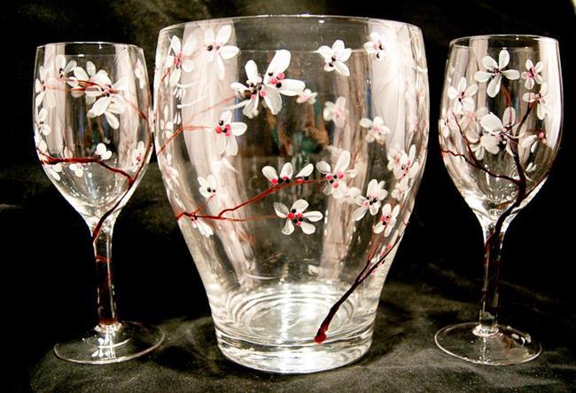 Art: Wine Glass Set w/ Cooler Cherry Blossoms #1 by Artist Rebecca M Ronesi-Gutierrez