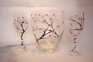 Detail Image for art Wine Glass Set w/ Cooler Cherry Blossoms #1
