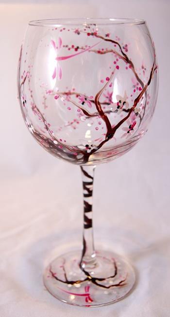 Art: Cherry Blossom Red Wine Glass #2 by Artist Rebecca M Ronesi-Gutierrez