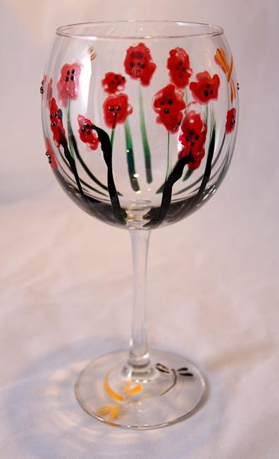 Art: Abstract Poppies Red Wine Glass #3 by Artist Rebecca M Ronesi-Gutierrez