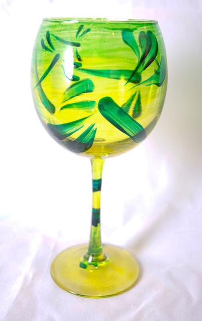 Art: Lemon Lime Red Wine Glass #5 by Artist Rebecca M Ronesi-Gutierrez