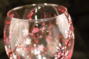 Detail Image for art Cherry Blossom Red Wine Glass #2
