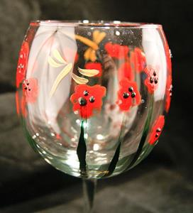 Detail Image for art Abstract Poppies Red Wine Glass #3