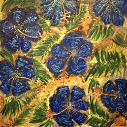 Art: Cobalt Hibiscus by Artist Rebecca M Ronesi-Gutierrez
