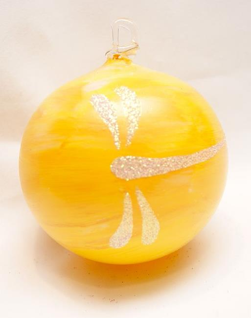 Art: 2012 Dragonfly Ball Yellow Marble # 7 of 24 by Artist Rebecca M Ronesi-Gutierrez