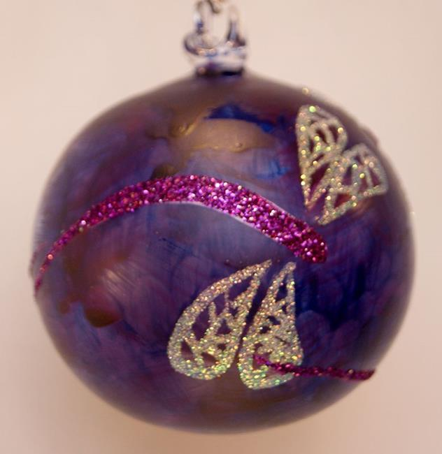 Art: #9 Frosted Purple Dragonfly Ball 2011 by Artist Rebecca M Ronesi-Gutierrez