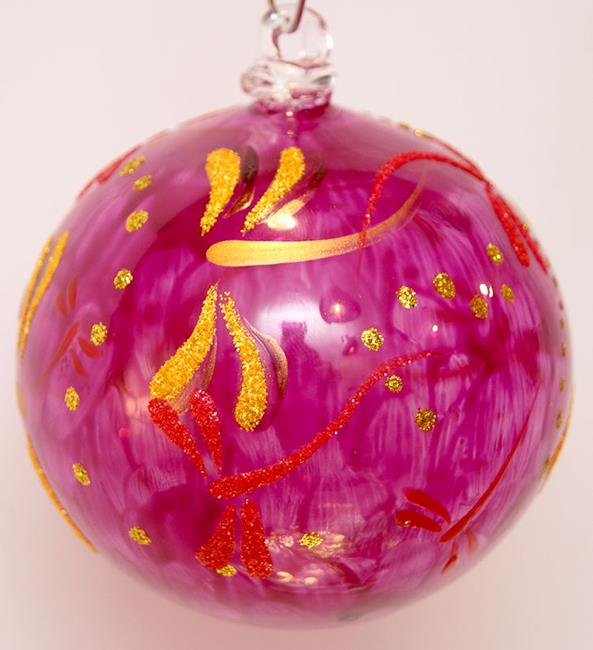 Art: #6 Spicy Magenta Dragonfly Ball 2011 by Artist Rebecca M Ronesi-Gutierrez