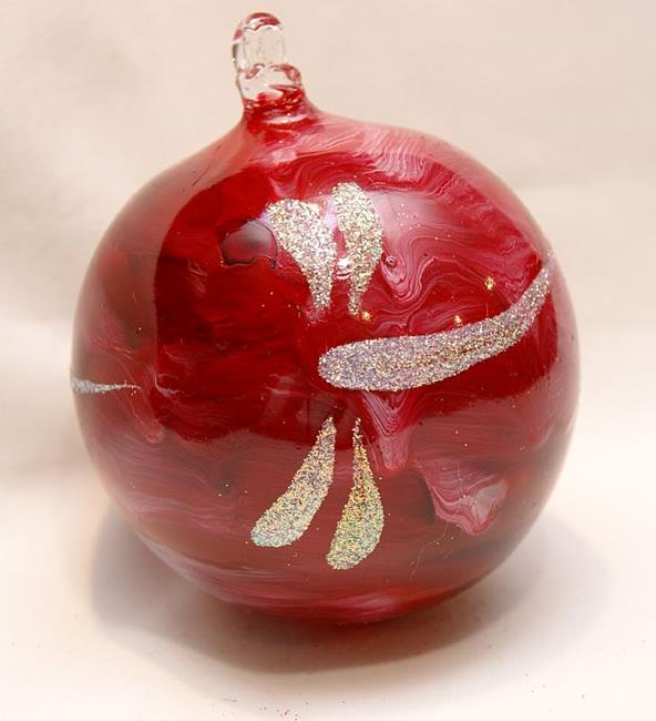 Art: 2012 Dragonfly Ball Red Marble # 10 by Artist Rebecca M Ronesi-Gutierrez