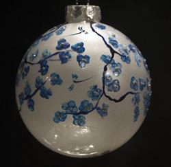 Art: White Pearl with Cobalt Cherry Blossoms by Artist Rebecca M Ronesi-Gutierrez