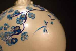 Detail Image for art White Pearl with Cobalt Cherry Blossoms