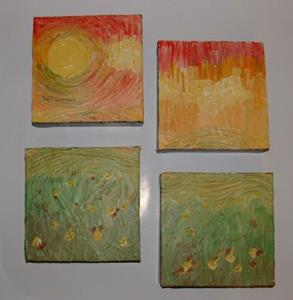 Detail Image for art Sunny Day with Fields (quadtych) (sold)