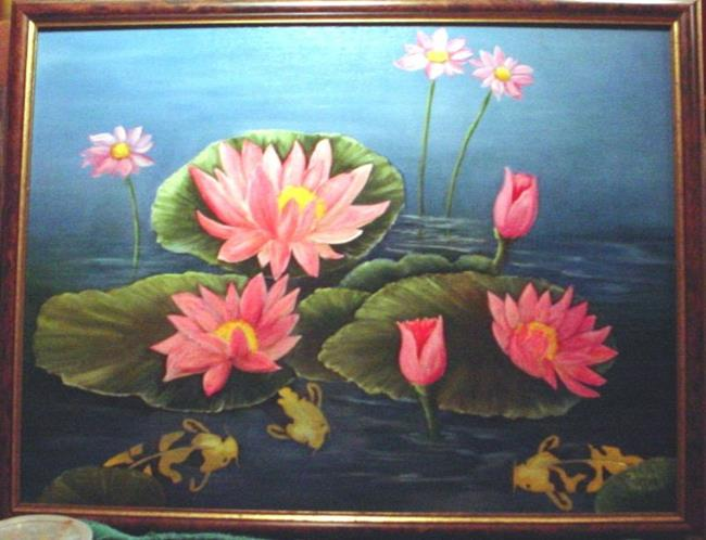 Art: Three's Company Koi and Lilies //SOLD by Artist Barbara Haviland