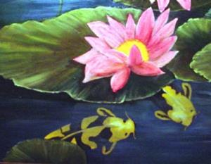 Detail Image for art Three's Company Koi and Lilies //SOLD