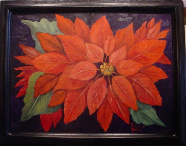 Art: Poinsettia December Flower by Artist Barbara Haviland