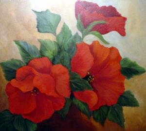 Detail Image for art Vase of Poppies //SOLD