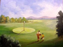 Art: Golfing Father & Son//sold by Artist Barbara Haviland