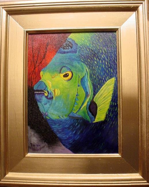 Art: Big Green Tropical Fish//sold by Artist Barbara Haviland