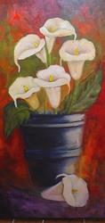 Art: CALLA LILIES IN A BUCKET SOLD by Artist Barbara Haviland
