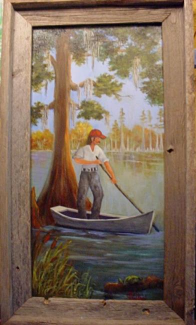 Art: Cajun Man Fishing ///sold by Artist Barbara Haviland