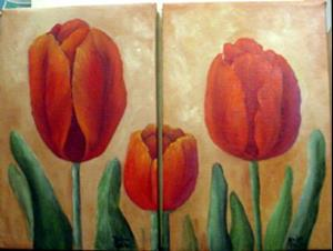 Detail Image for art Diptych   Red Tulips //sOLD