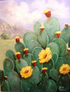 Detail Image for art Cacti in Bloom Big Bend //SOLD
