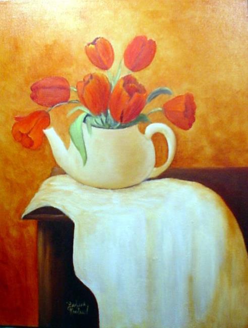 Art: Tulips in Teapot // SOLD by Artist Barbara Haviland
