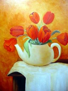 Detail Image for art Tulips in Teapot // SOLD