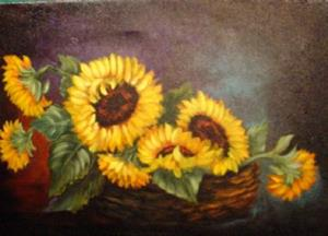 Detail Image for art Basket of Sunflowers //SOLD